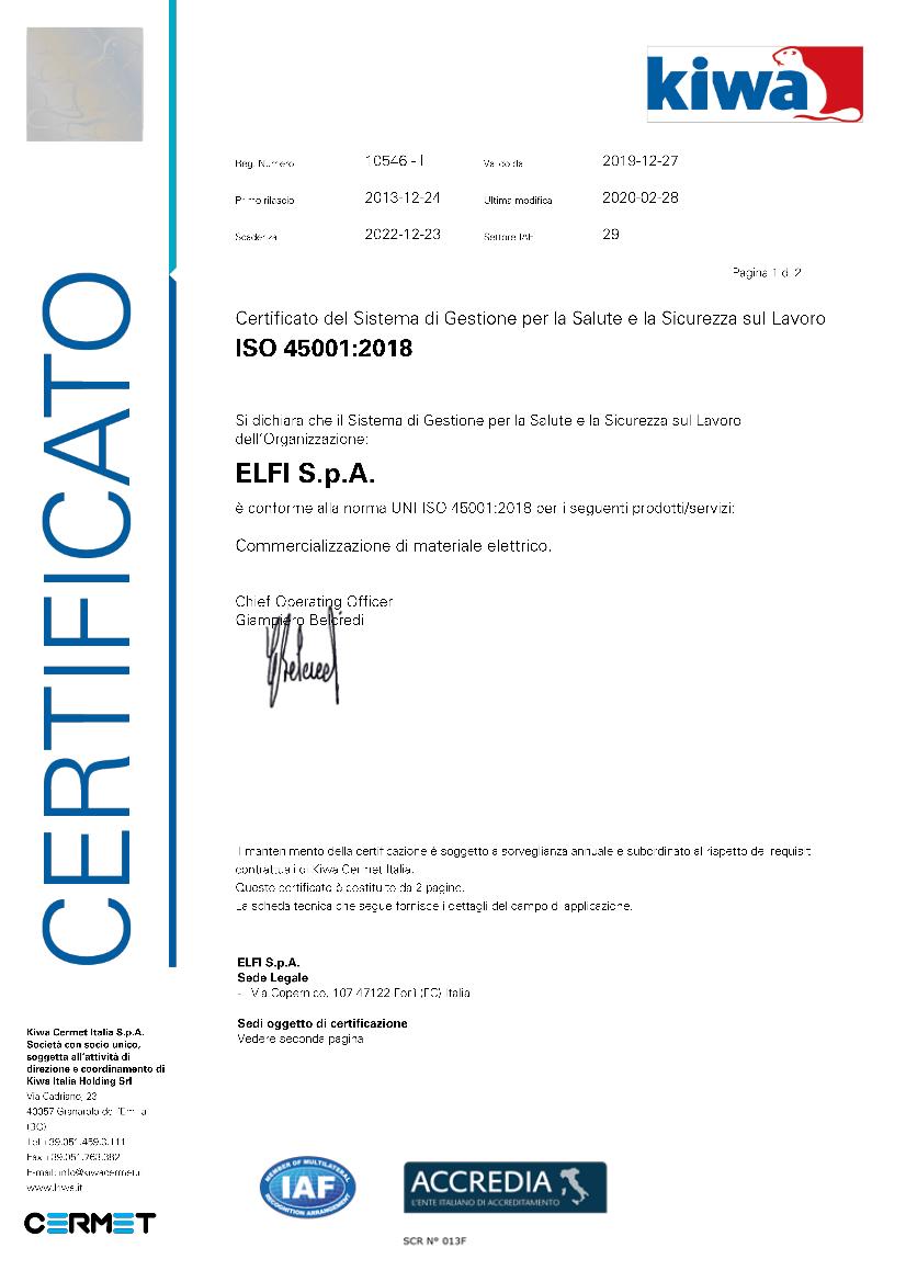 PC 10546 certificato ISO 45001 del 28-02-2020